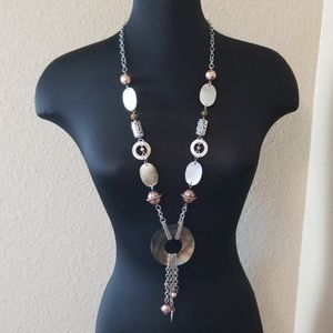 Chicos Long Shell Bead Statement Necklace